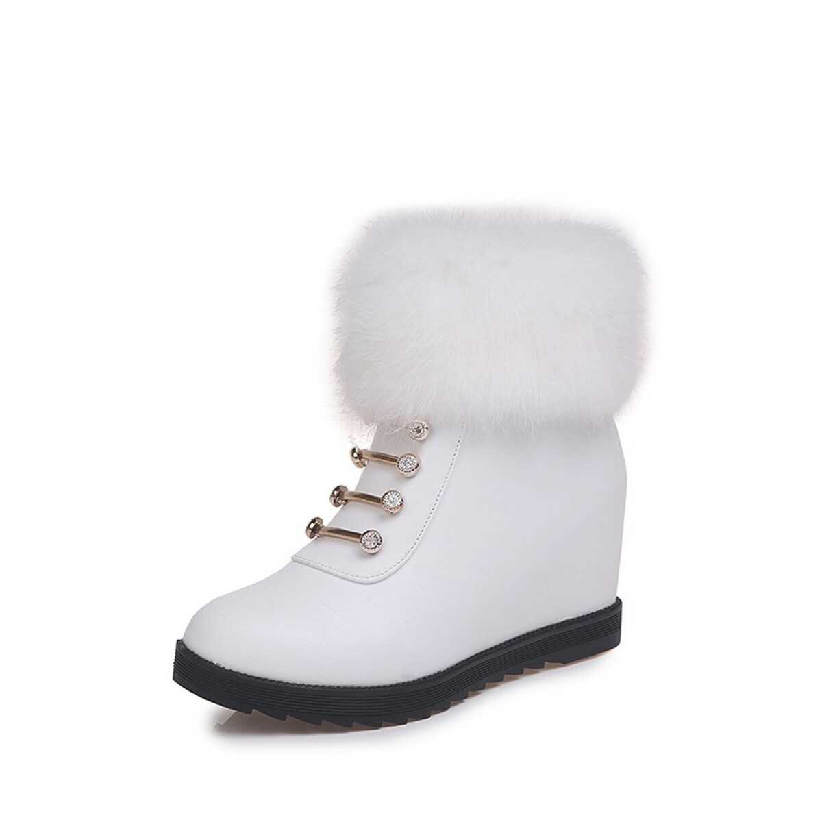 Faux Fur Decor Wedge Boots in White by ROMWE on GOOFASH