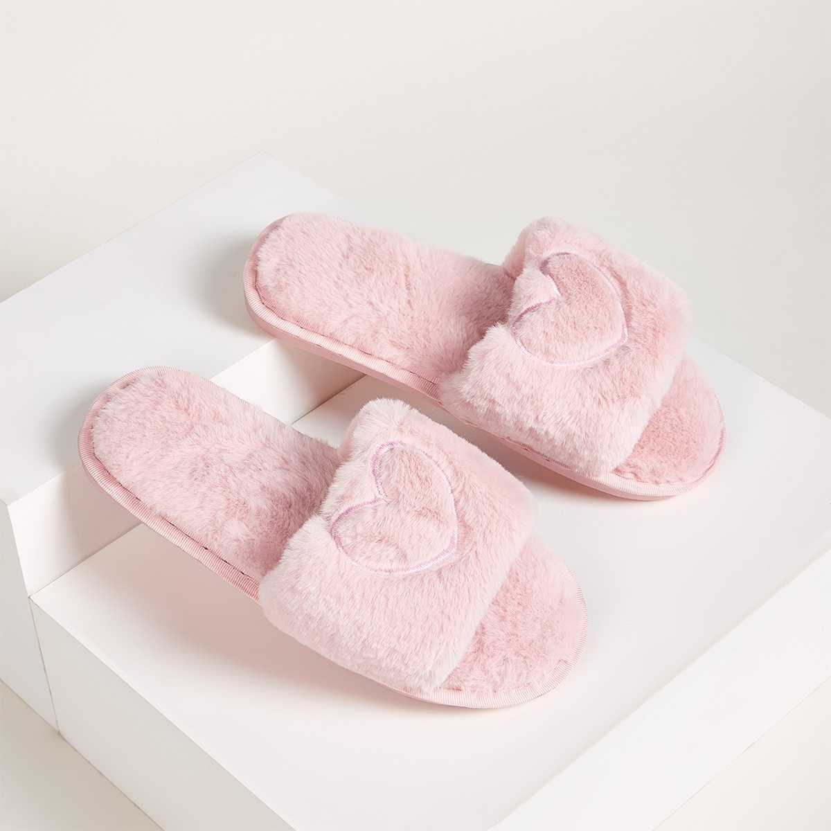 Faux Fur Flat Slippers in Pink by ROMWE on GOOFASH