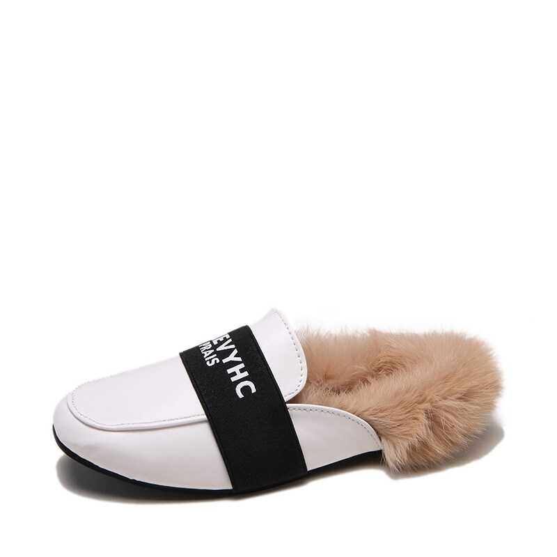 Faux Fur Lined Flat Mules in White by ROMWE on GOOFASH