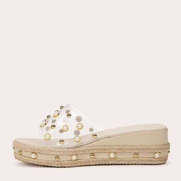 Faux Pearl Decor Clear Strap Wedges in White by ROMWE on GOOFASH