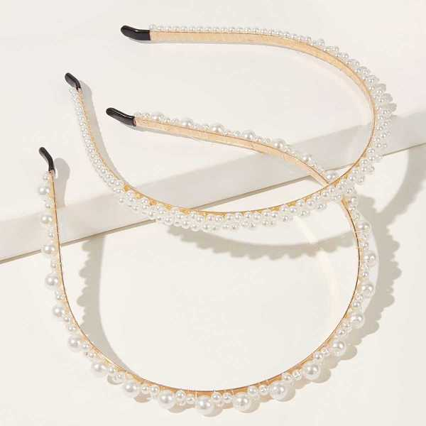Faux Pearl Decor Headband 2pcs in White by ROMWE on GOOFASH