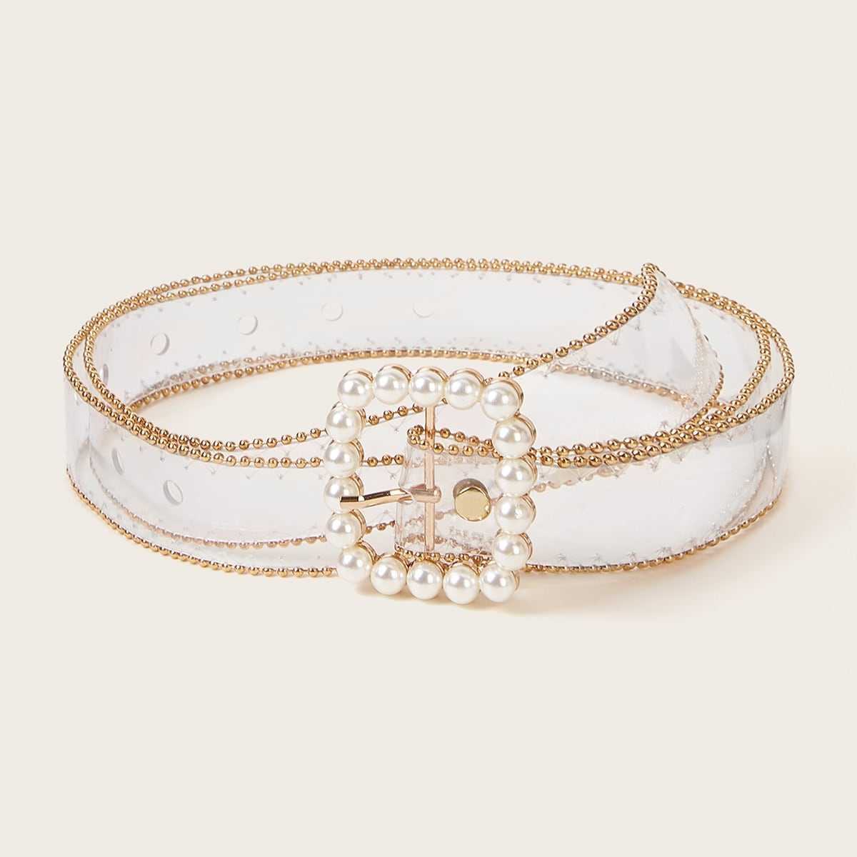 Faux Pearl Decor Transparent Belt in  by ROMWE on GOOFASH