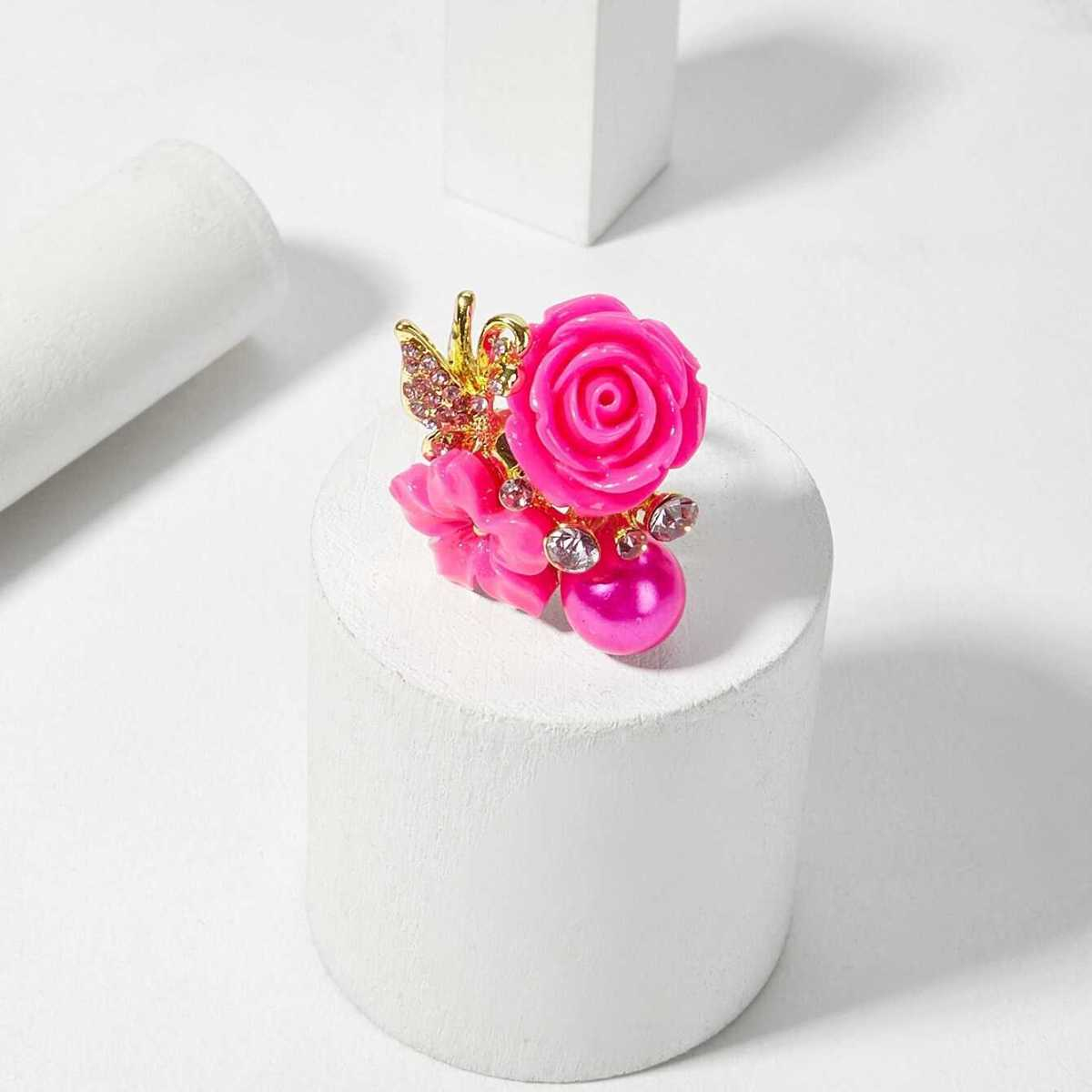 Faux Pearl & Flower Decorated Ring 1pc - Shein - GOOFASH