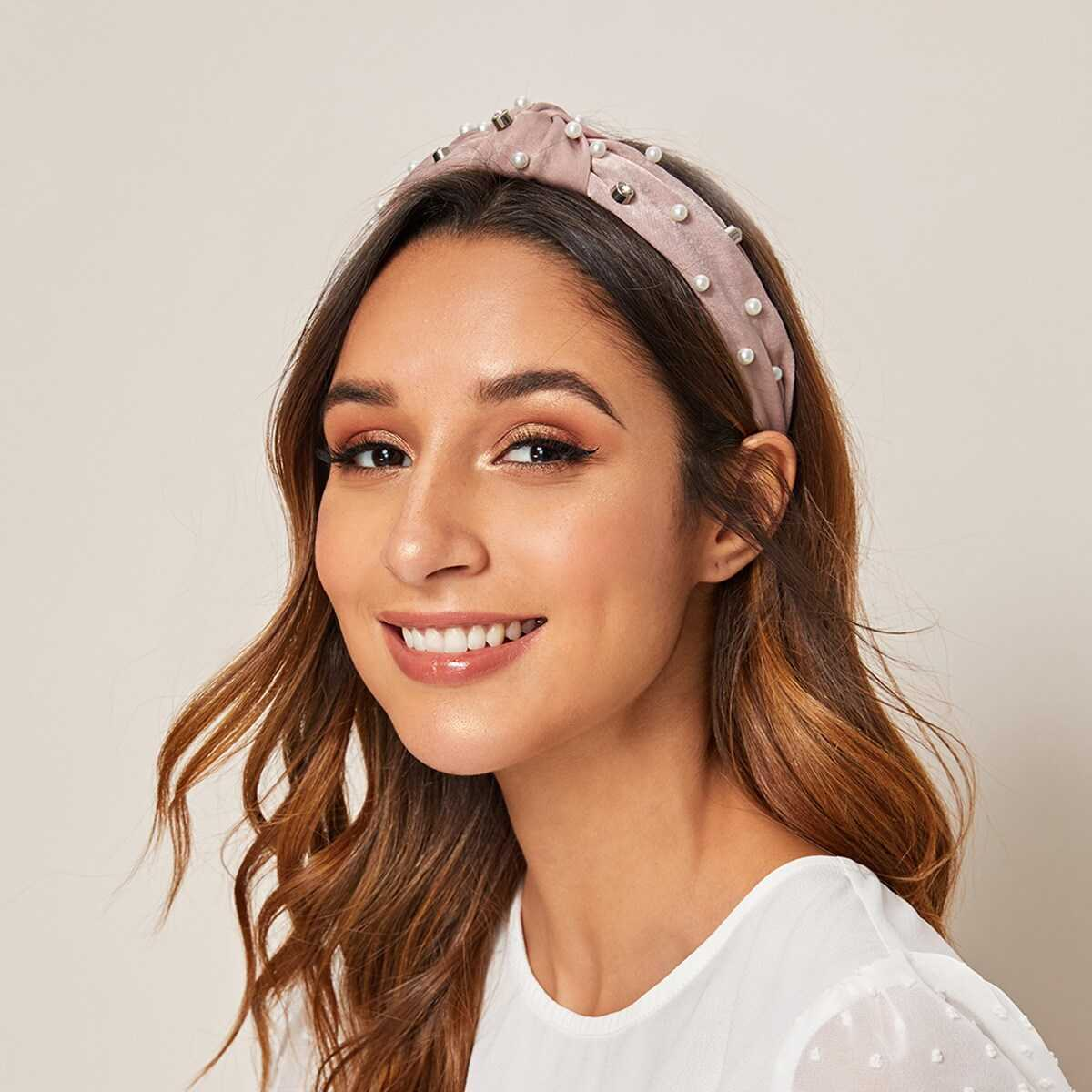 Faux Pearl & Knot Decor Headband in Pink by ROMWE on GOOFASH
