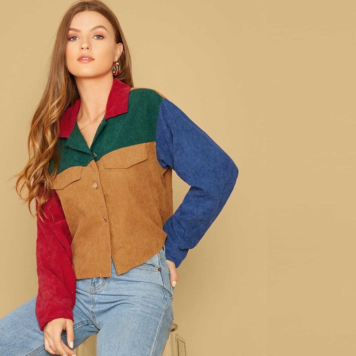 Flap Detail Colorblock Corduroy Jacket in Multicolor Bright by ROMWE on GOOFASH