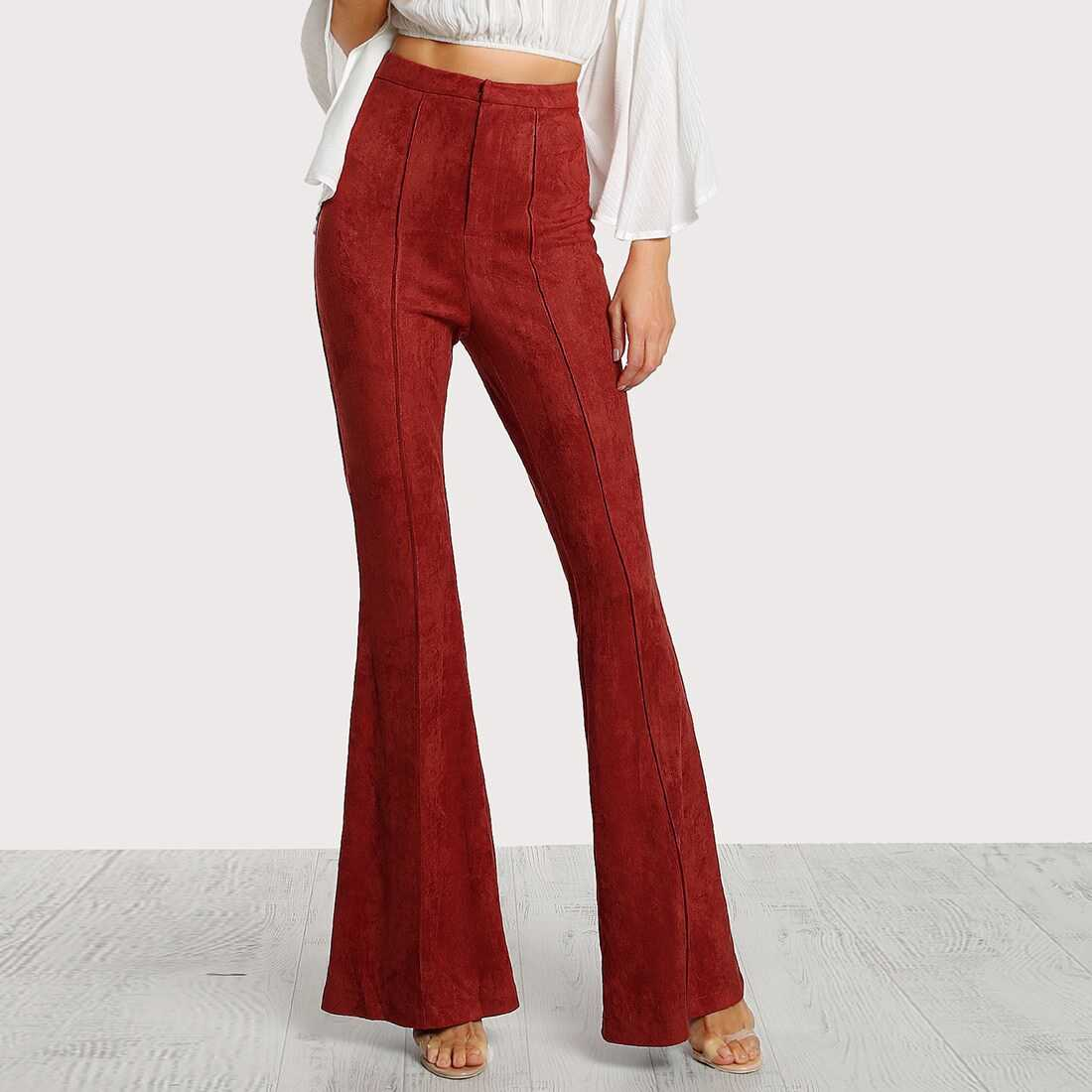Flare Bottom Suede Pants - Shein - GOOFASH