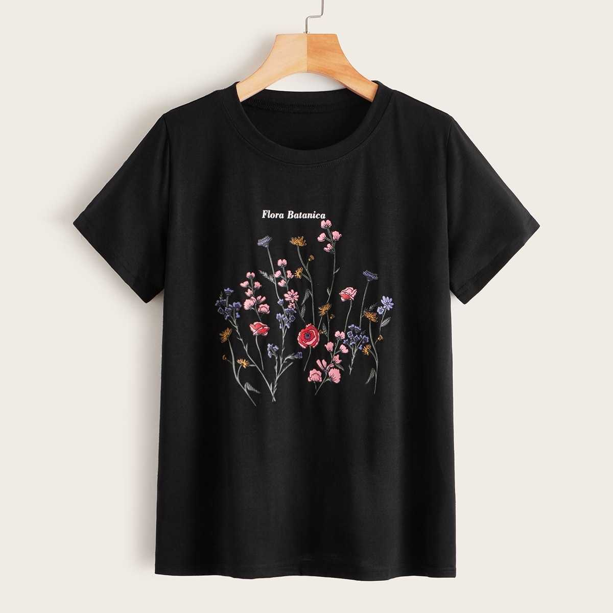Floral And Letter Print Tee in Black by ROMWE on GOOFASH