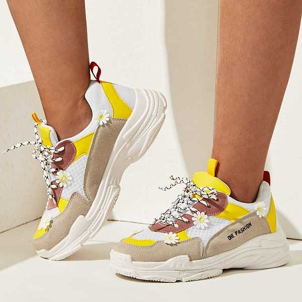 Floral Decor Suede Panel Trainers in Multicolor by ROMWE on GOOFASH
