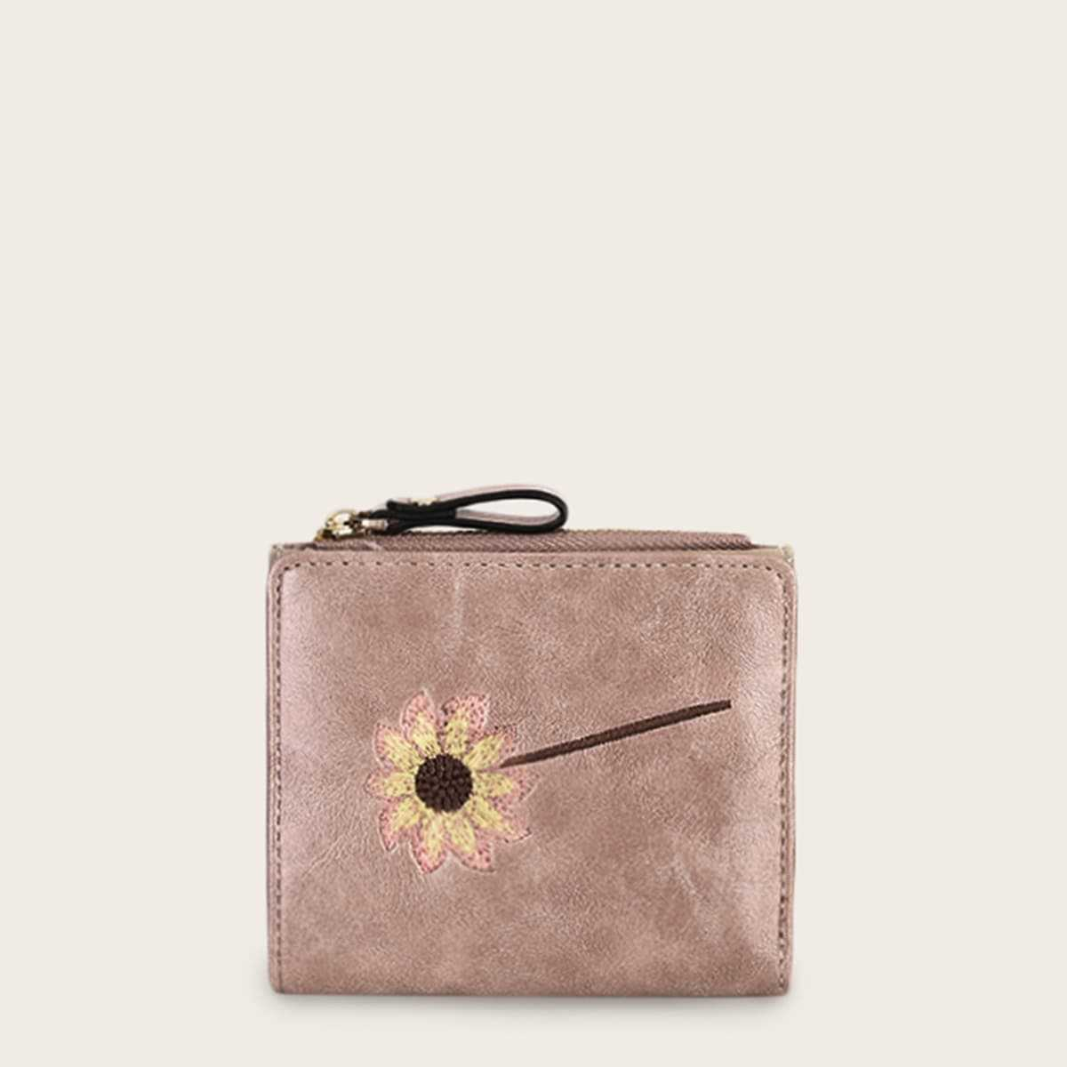 Floral Embroidered Fold Over Purse in Pink by ROMWE on GOOFASH