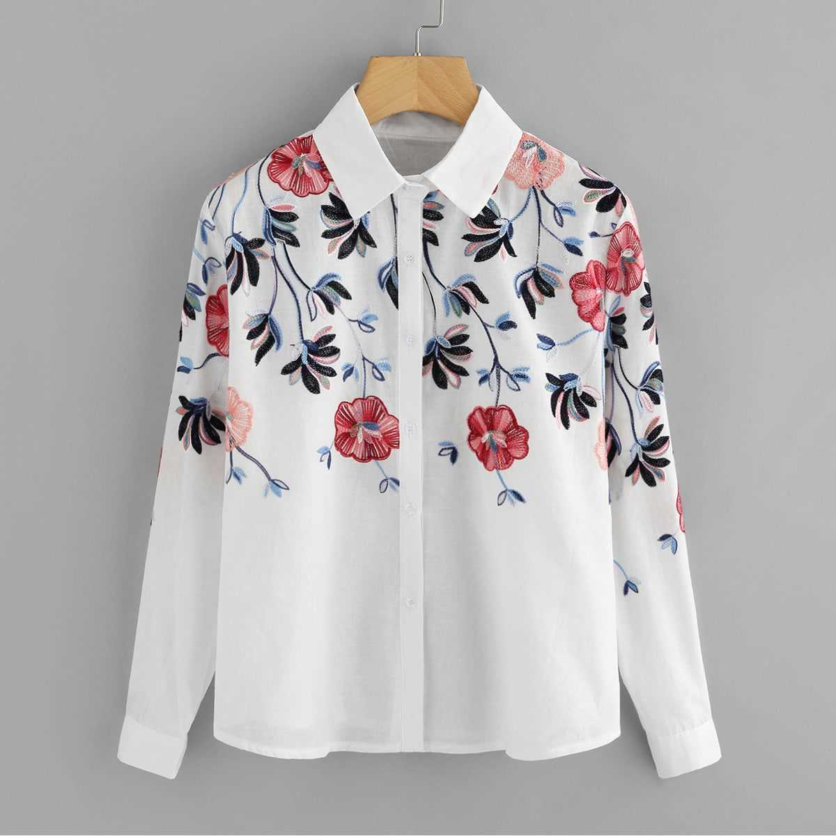Floral Embroidery Button Front Blouse in White by ROMWE on GOOFASH