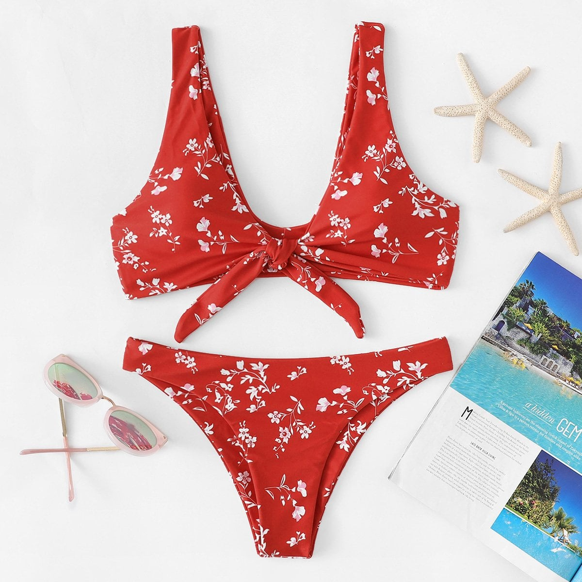Floral Knot Front Bikini Set in Red by ROMWE on GOOFASH