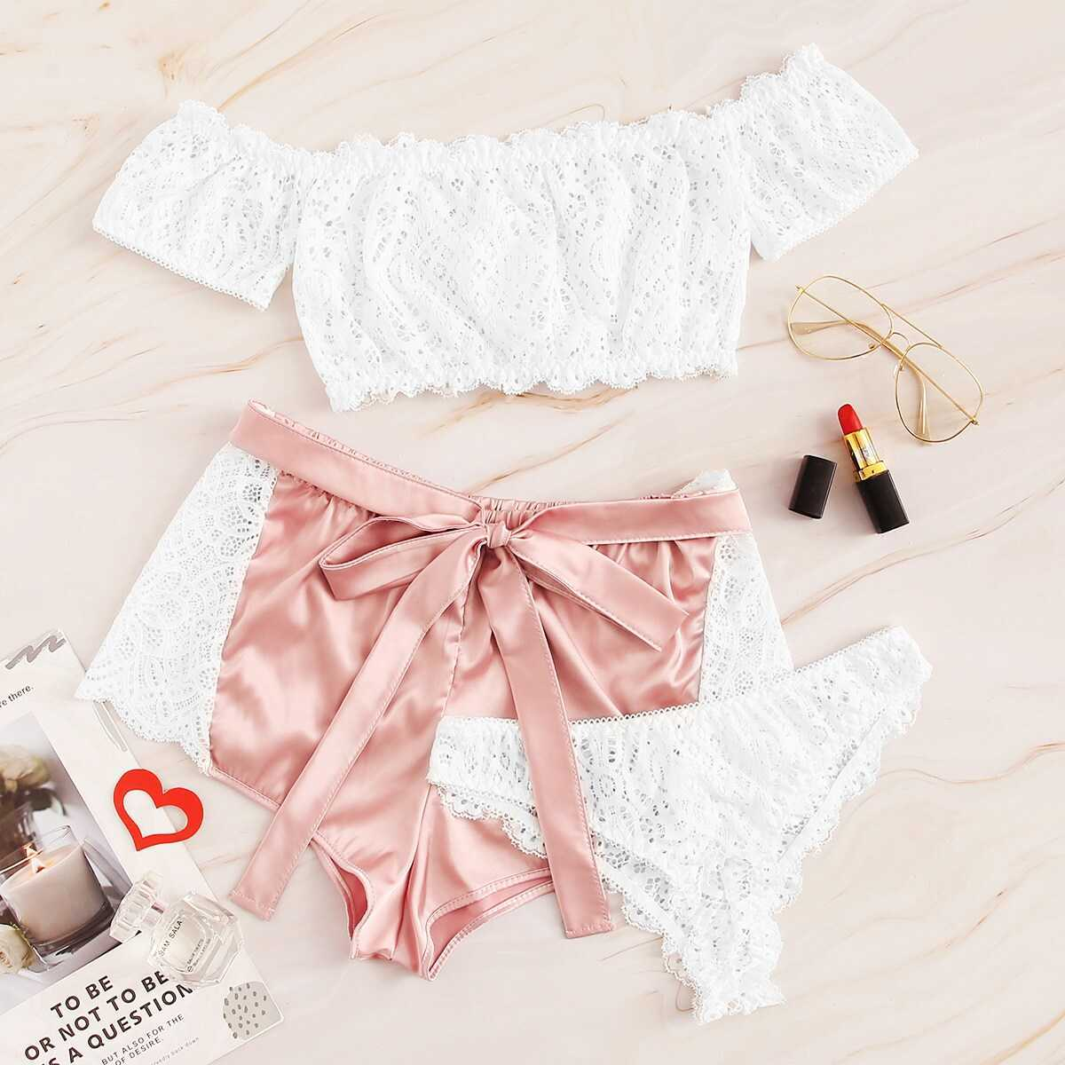 Floral Lace Bardot Lingerie Set With Satin Shorts 3pack - Shein - GOOFASH