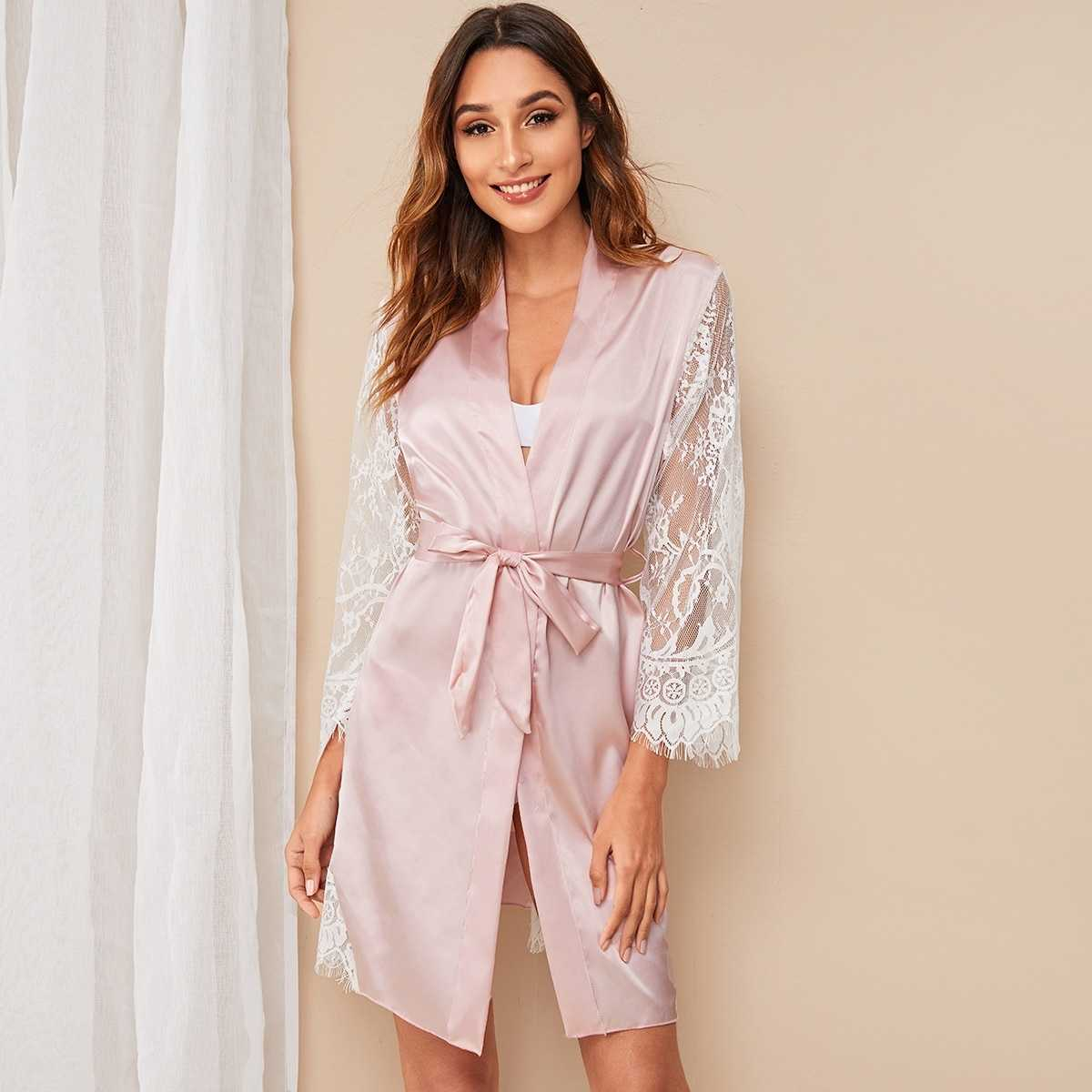 Floral Lace Satin Belted Robe in Pink by ROMWE on GOOFASH