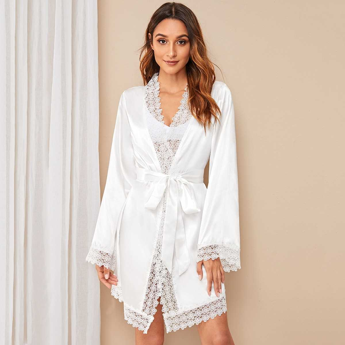 Floral Lace Satin Belted Robe in White by ROMWE on GOOFASH