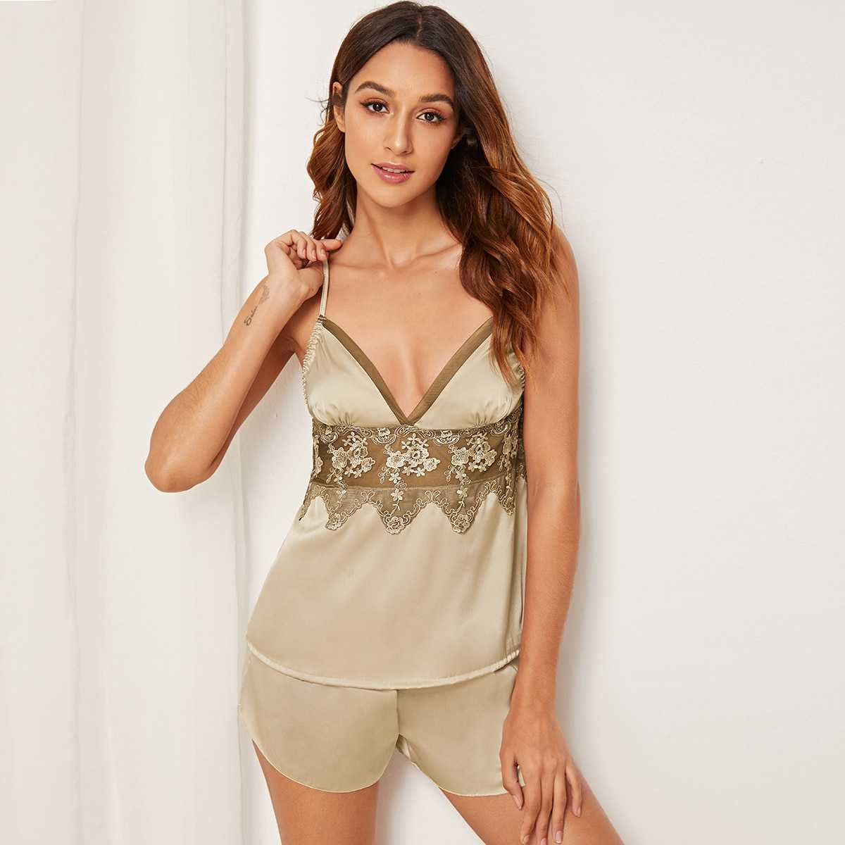 Floral Lace Satin Cami Pajama Set in Brown by ROMWE on GOOFASH