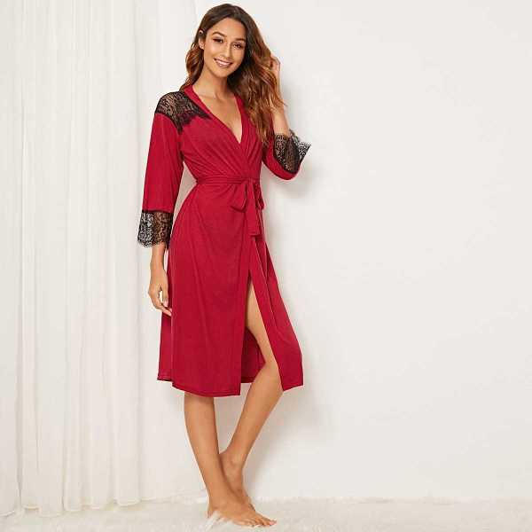 Floral Lace Self Belted Robe in Red by ROMWE on GOOFASH