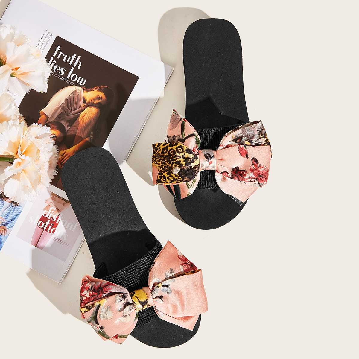 Floral Print Bow Decor Sliders in Multicolor by ROMWE on GOOFASH