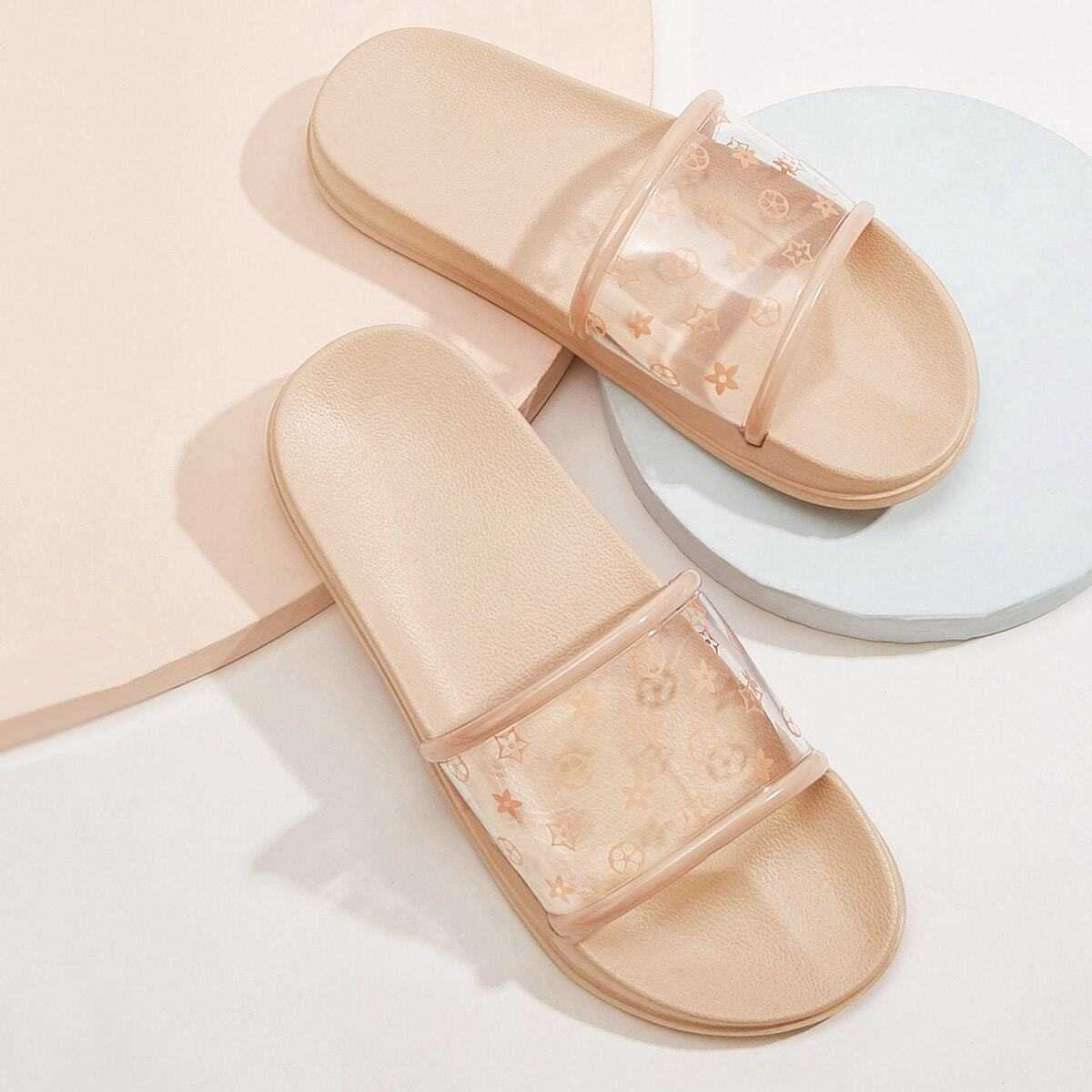 Floral Print Clear Sliders in Pink by ROMWE on GOOFASH