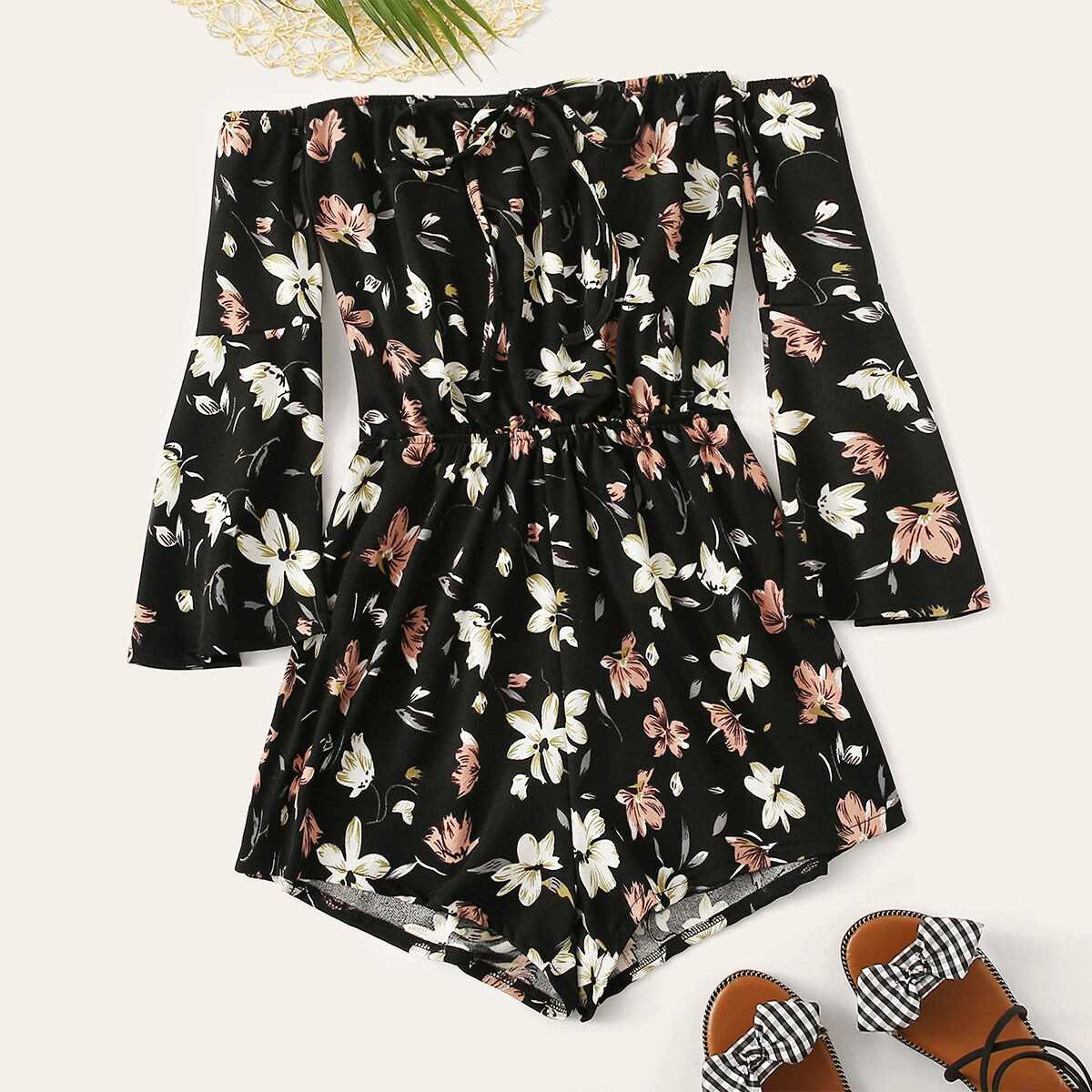 Floral Print Knot Front Off The Shoulder Playsuit - Shein - GOOFASH