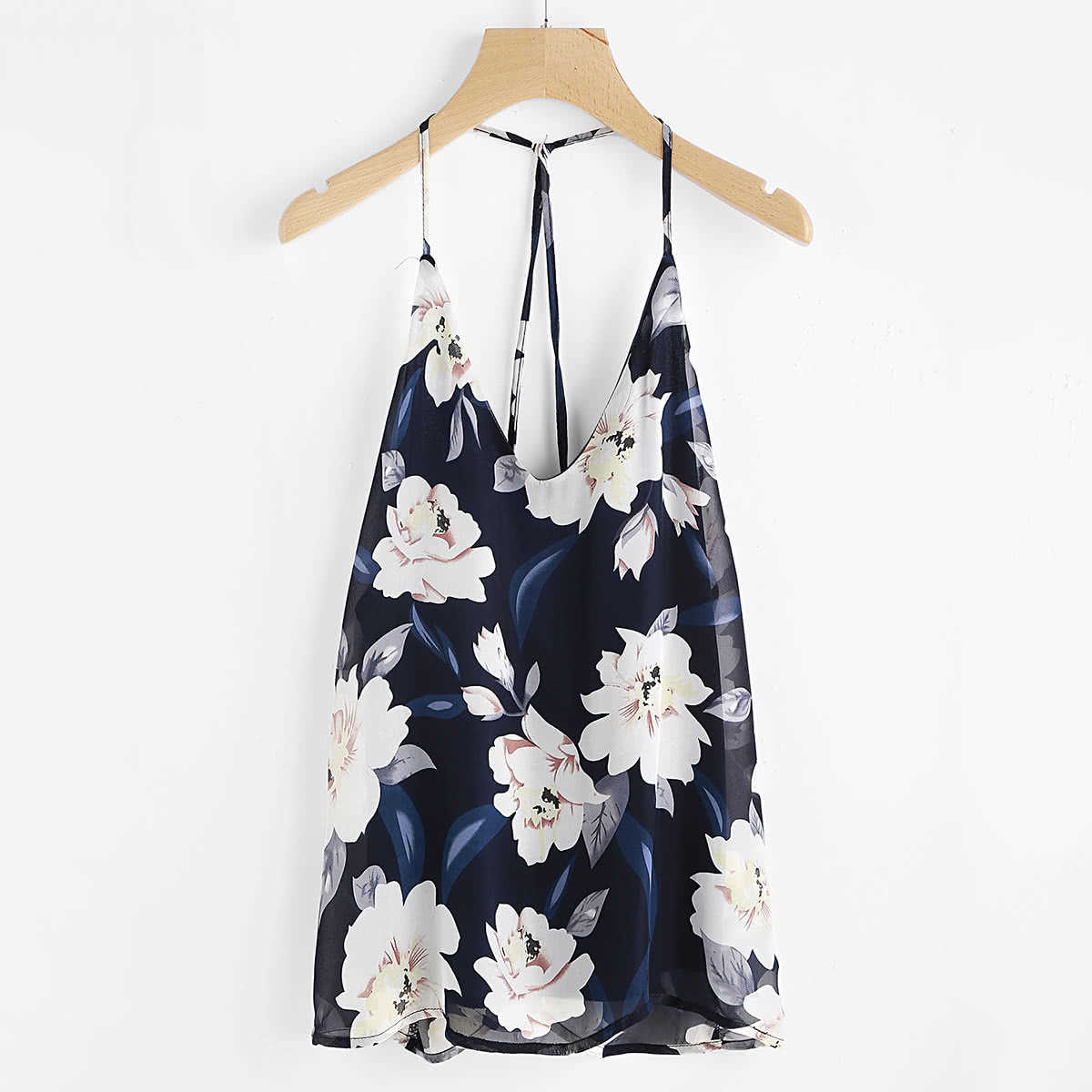 Florals Backless Halter Top in Multicolor by ROMWE on GOOFASH