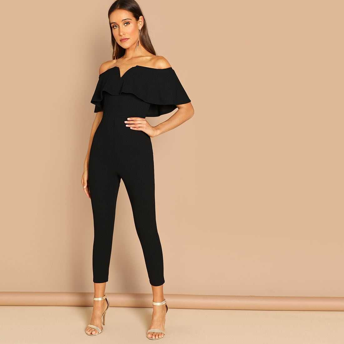 Flounce Foldover Front Off Shoulder Skinny Jumpsuit in Black by ROMWE on GOOFASH