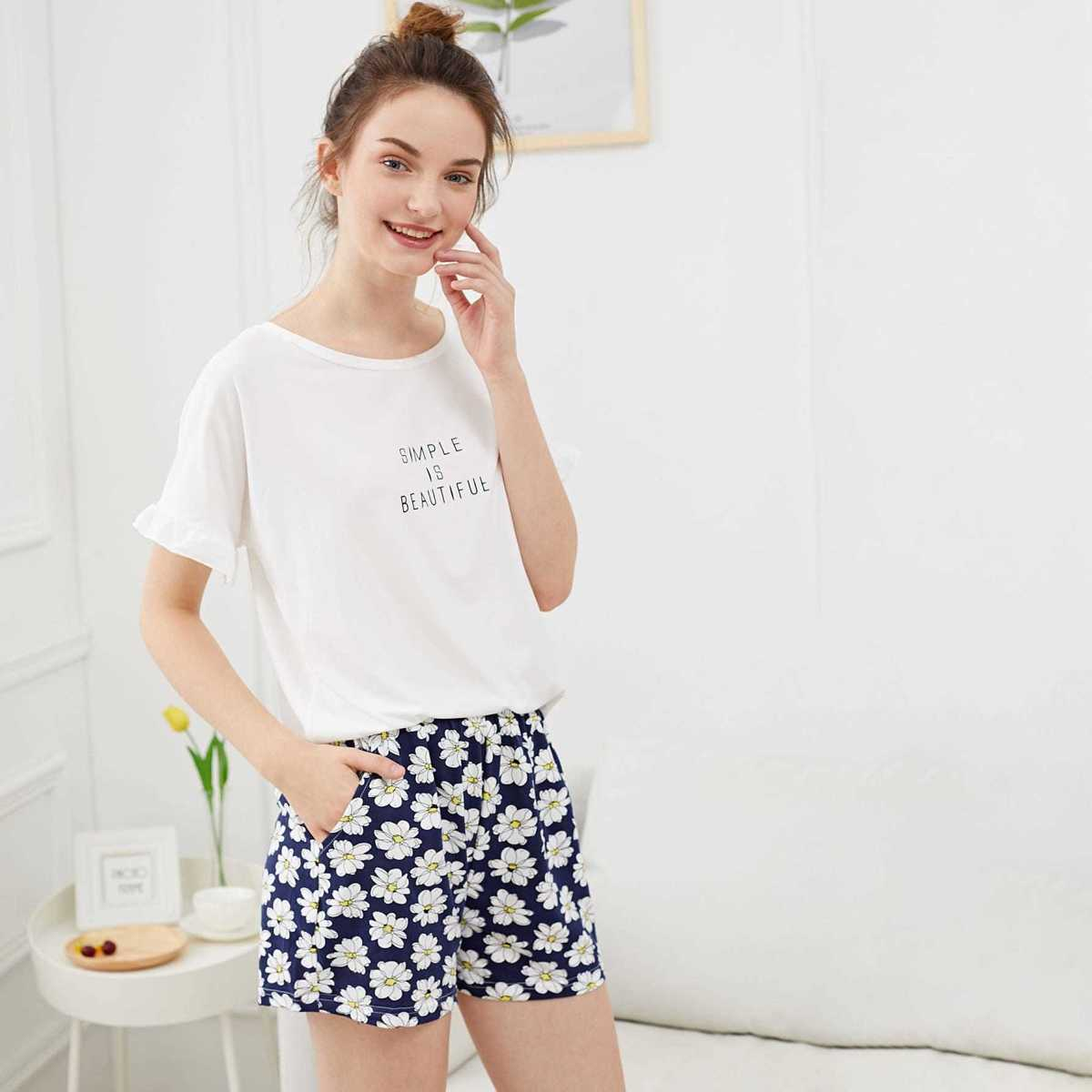 Flower & Letter Print Pajama Set in Multicolor by ROMWE on GOOFASH
