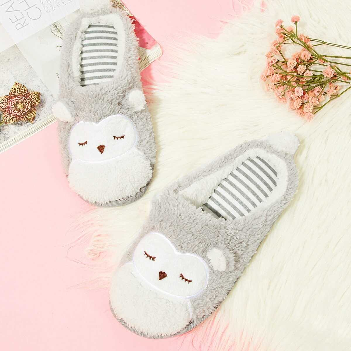 Fluffy Owl Slippers - Shein - GOOFASH