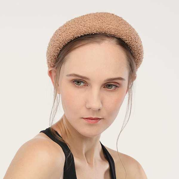 Fluffy Wide Headband 1pc in Khaki by ROMWE on GOOFASH