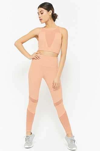 Forever 21 Active Back Pocket Leggings Nude - GOOFASH