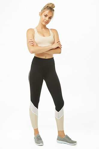Forever 21 Active Colorblock 7/8 Leggings Black/champagne - GOOFASH