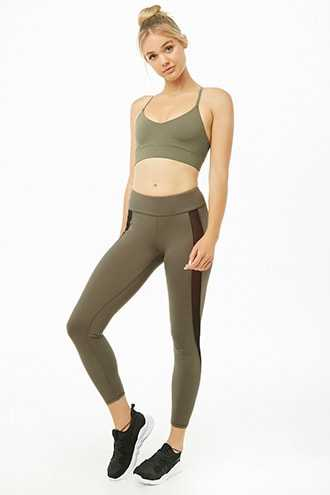 Forever 21 Active Mesh-Panel Leggings Olive/black - GOOFASH