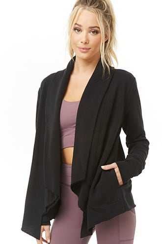 Forever 21 Active Open-Front Cardigan  Black - GOOFASH