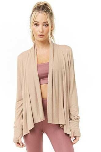 Forever 21 Active Open-Front Cardigan  Camel - GOOFASH