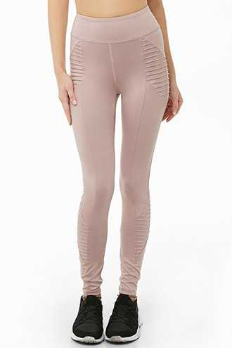 Forever 21 Active Sheeny Moto Leggings  Orchid - GOOFASH