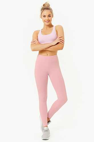 Forever 21 Active Stretch-Knit Leggings  Pink - GOOFASH