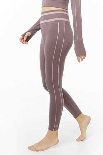Forever 21 Active Striped-Trim 7/8 Leggings  Amethyst/orchid - GOOFASH