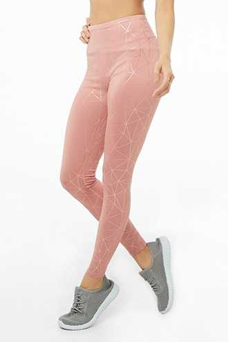 Forever 21 Athletic Metallic Print Leggings Blush/rose Gold - GOOFASH