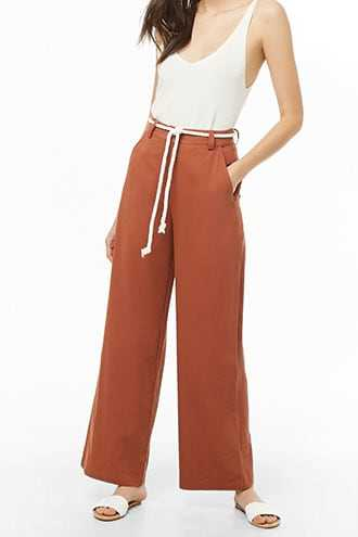 Forever 21 Belted Wide-Leg Pants  Rust - GOOFASH