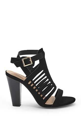 Forever 21 Buckled Cutout Heels  Black - GOOFASH