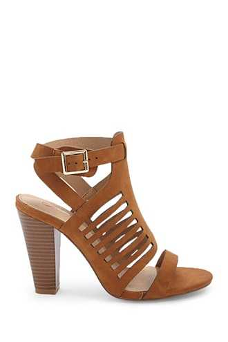 Forever 21 Buckled Cutout Heels  Camel - GOOFASH
