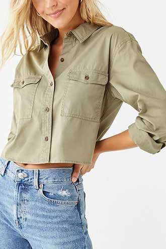 Forever 21 Button Front Shirt  Light Olive - GOOFASH