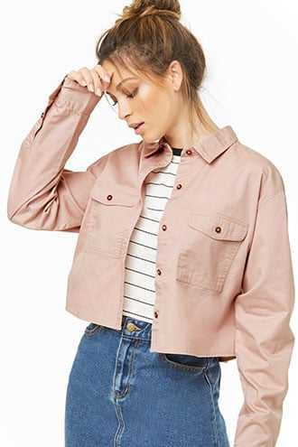 Forever 21 Button Front Shirt  Light Pink - GOOFASH