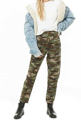 Forever 21 Camo Pleat-Front Pants  Olive/brown - GOOFASH