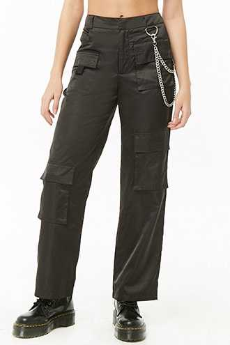 Forever 21 Chain-Accent Cargo Pants  Black - GOOFASH