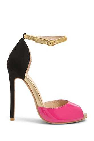 Forever 21 Colorblock Peep-Toe Pumps  Black/pink - GOOFASH