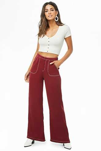 Forever 21 Contrast-Stitch Wide-Leg Pants  Wine - GOOFASH