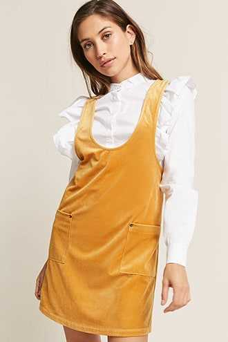 Forever 21 Corduroy Pinafore Dress  Yellow - GOOFASH