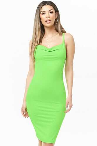 Forever 21 Cowl Neck Fitted Dress  Neon Green - GOOFASH