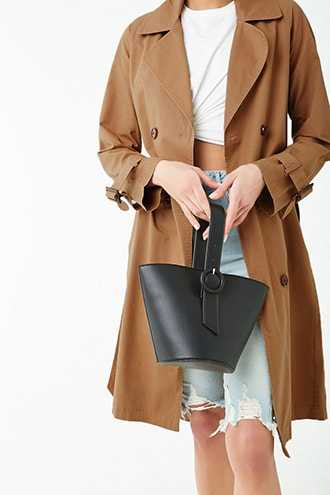 Forever 21 Double-Breasted Trench Coat  Tan - GOOFASH