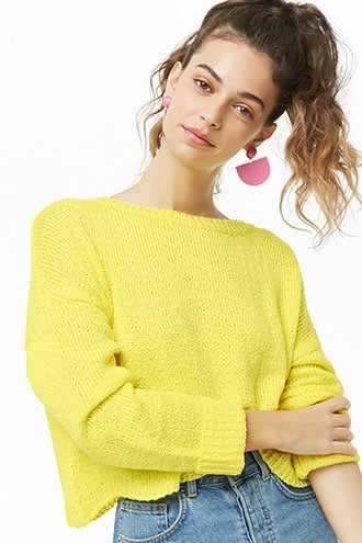 Forever 21 Dropped Shoulder Knit Sweater Lime - GOOFASH